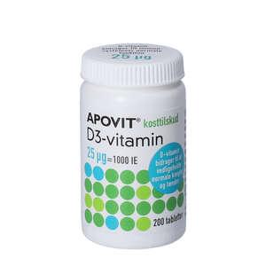 Apovit D3-vitamin tabletter (25 mikg) 200 stk
